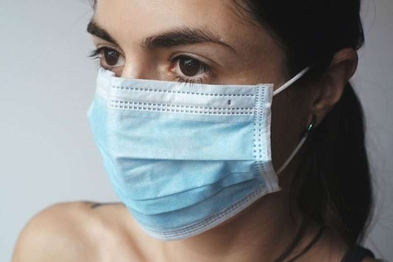 woman with medical mask on