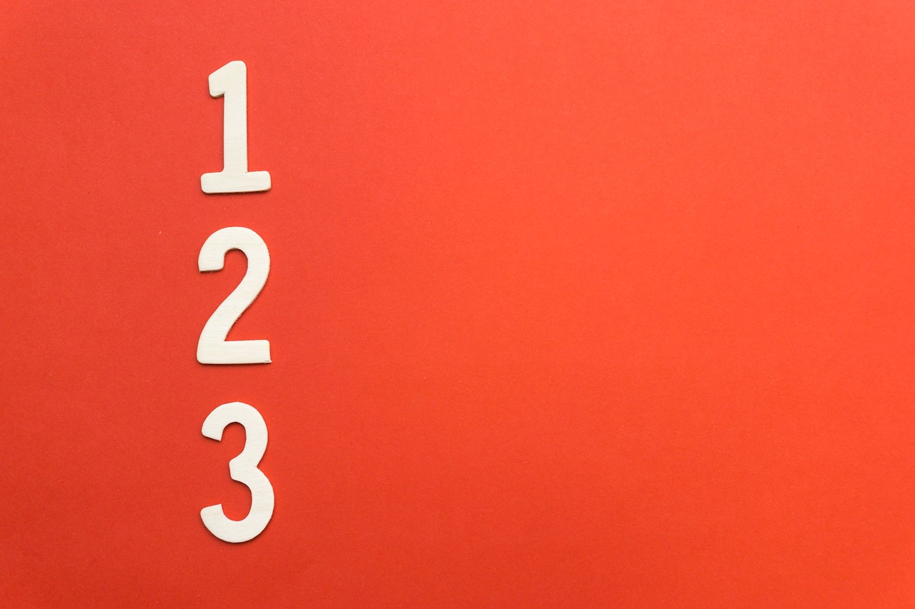 numbers 1,2,3 on red background