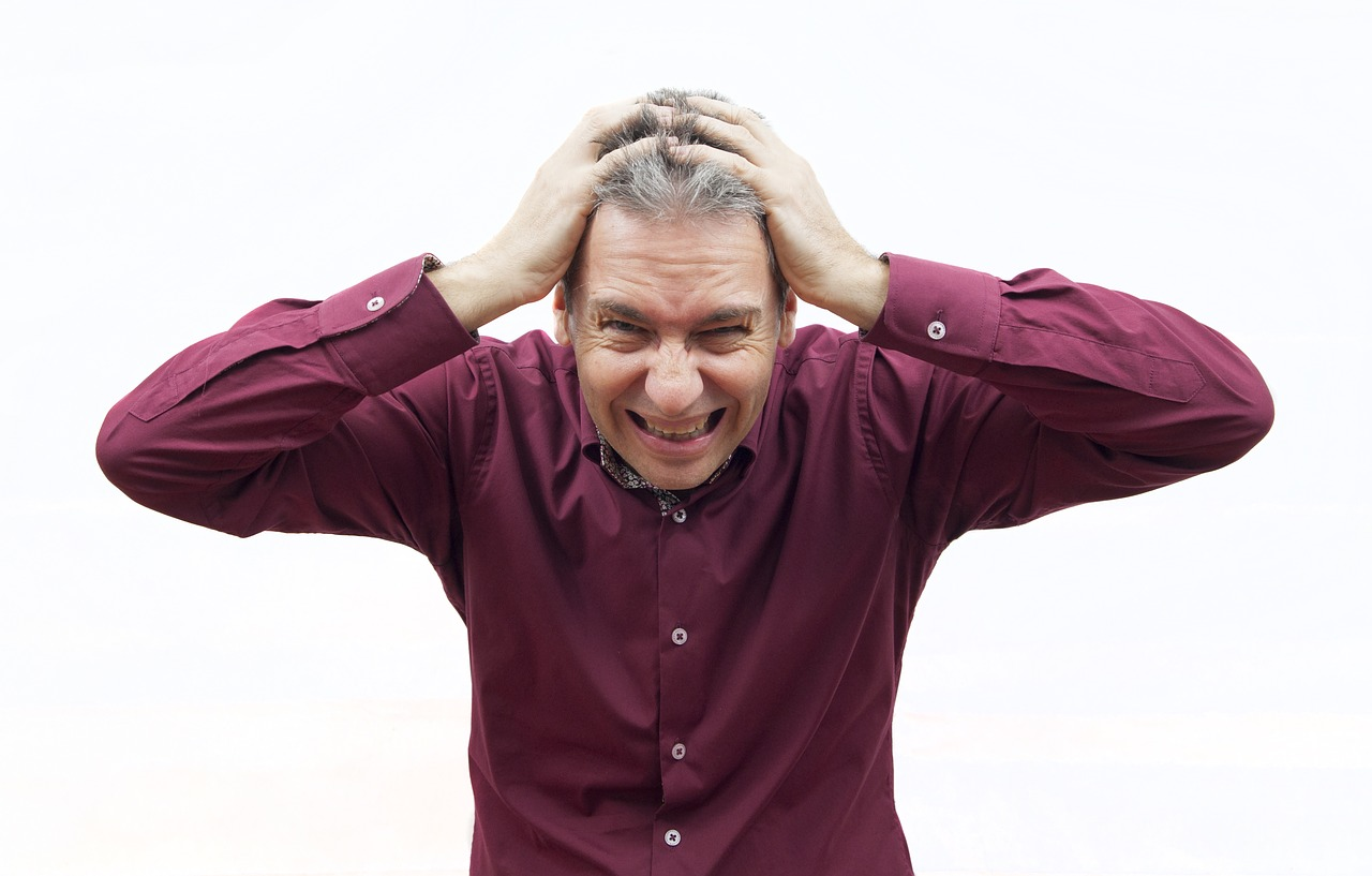 man stressed to no end